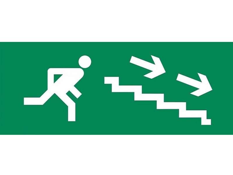 Сменная надпись «Человек лестница стрелка вправо вниз»