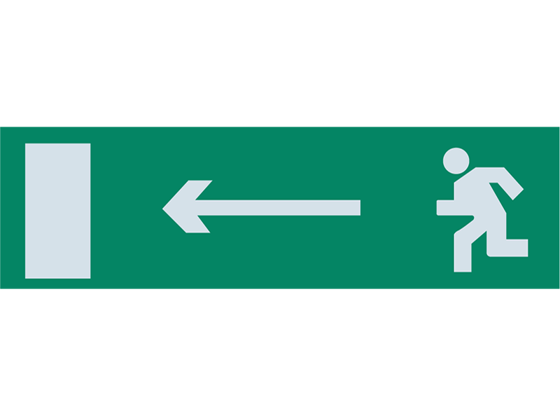 Сменная надпись «Человек стрелка влево в дверь»