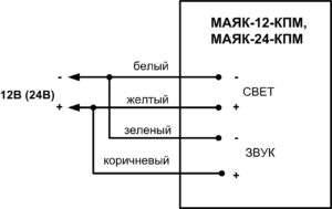 Схема подключения Маяк-12-КПМ и Маяк-24-КП